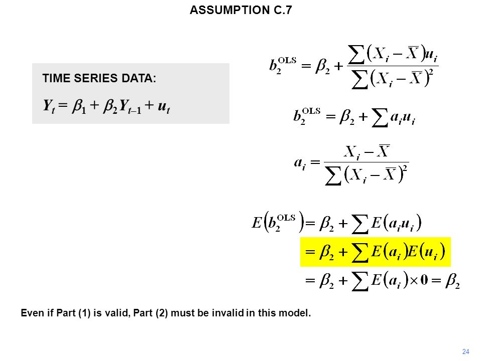 TIME SERIES DATA: Y t =  1 +  2 Y t–1 + u t Y t+1 =  1 +  2 Y t + u t+1 The disturbance term u t is automatically correlated with the explanatory