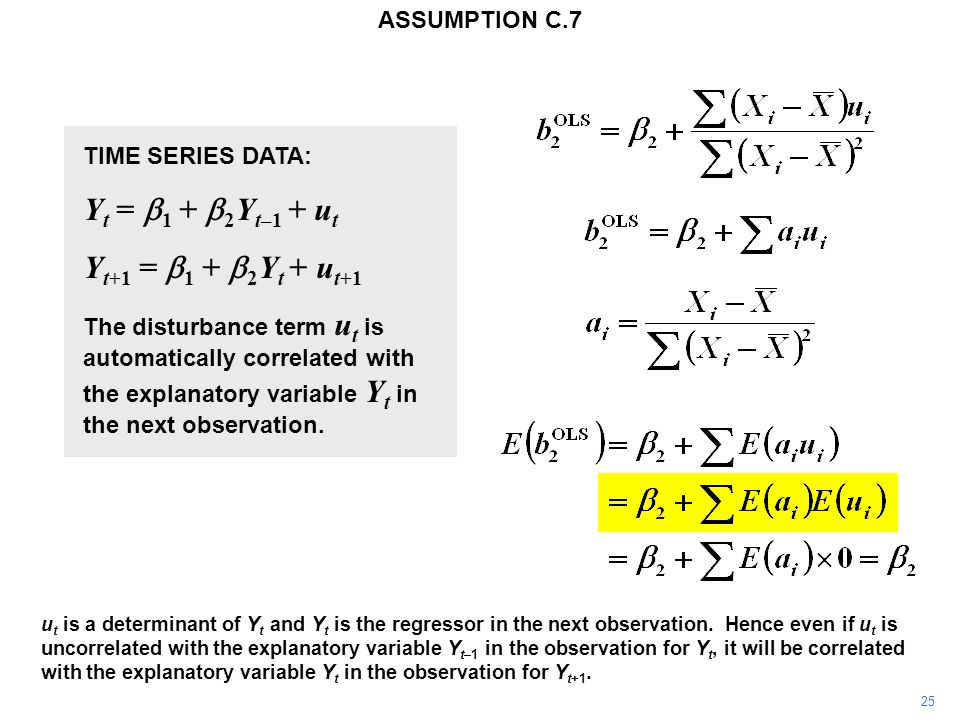 25 TIME SERIES DATA: Y t =  1 +  2 Y t–1 + u t Y t+1 =  1 +  2 Y t + u t+1 The disturbance term u t is automatically correlated with the explanato