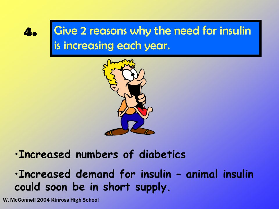 W. McConnell 2004 Kinross High School 4. Give 2 reasons why the need for insulin is increasing each year. Increased numbers of diabetics Increased dem