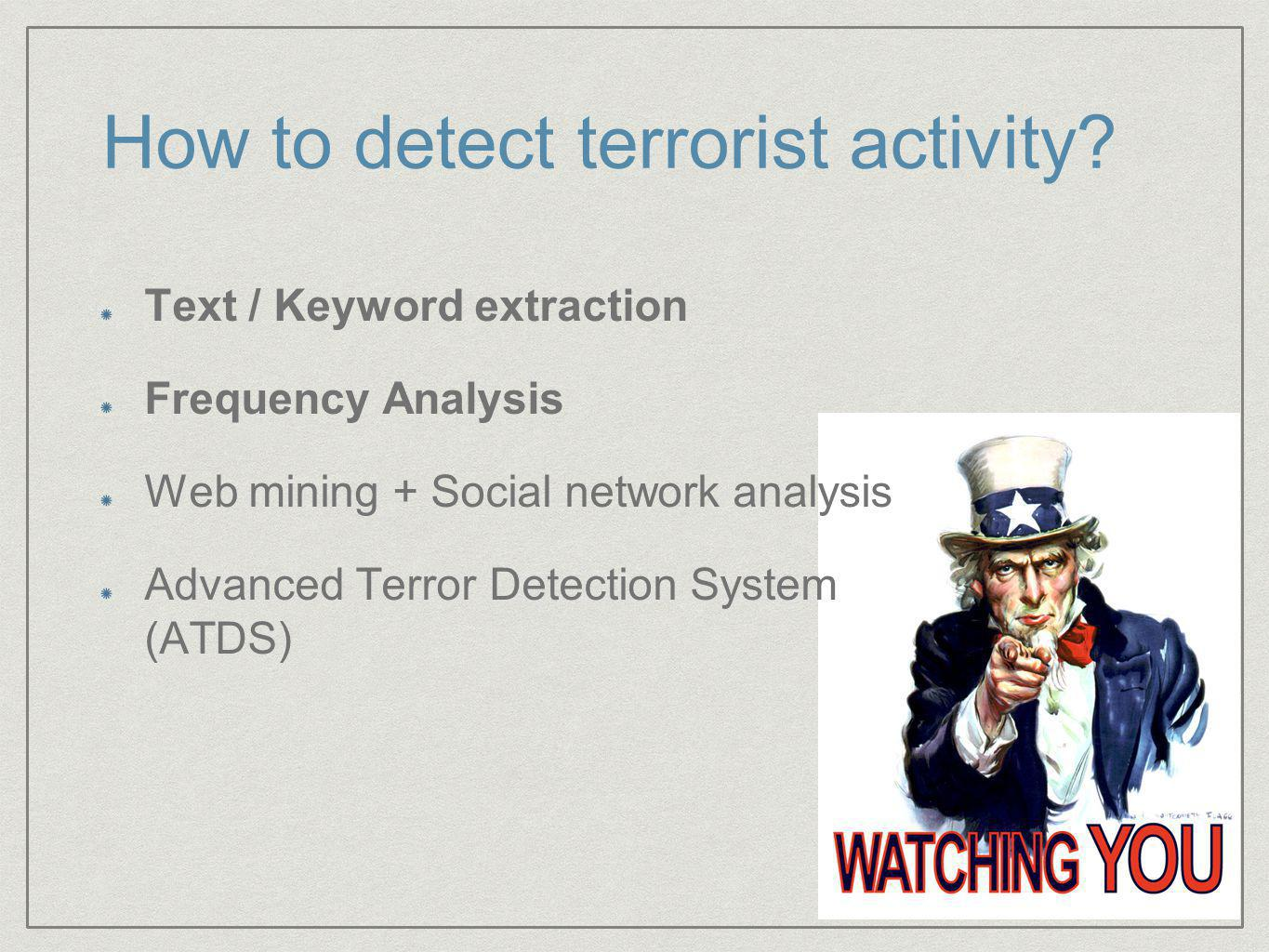 How to detect terrorist activity.