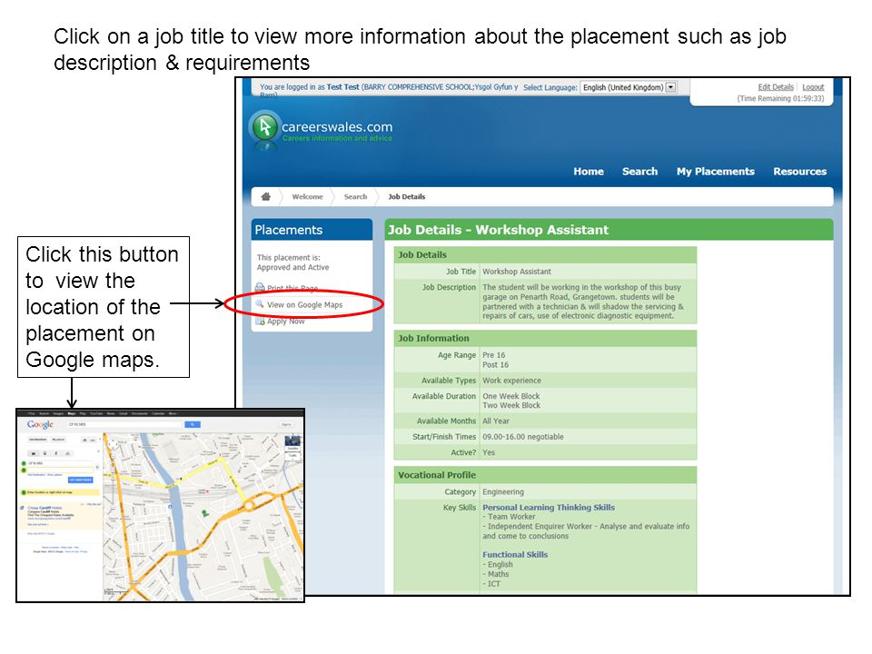 Click on a job title to view more information about the placement such as job description & requirements Click this button to view the location of the placement on Google maps.