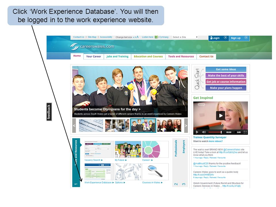 Click 'Work Experience Database'. You will then be logged in to the work experience website.