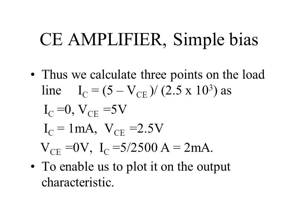 CE AMPLIFIER, Simple bias Thus we calculate three points on the load line I C = (5 – V CE )/ (2.5 x 10 3 ) as I C =0, V CE =5V I C = 1mA, V CE =2.5V V