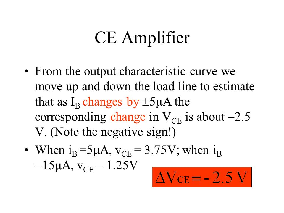 CE Amplifier From the output characteristic curve we move up and down the load line to estimate that as I B changes by  5μA the corresponding change