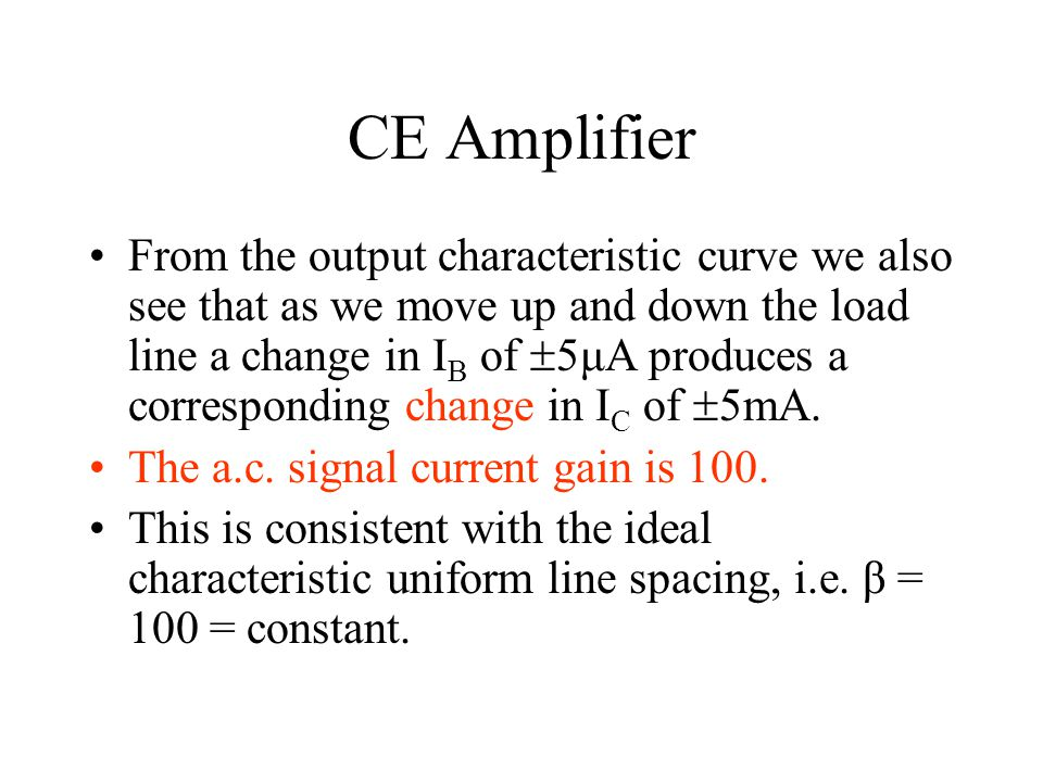 CE Amplifier From the output characteristic curve we also see that as we move up and down the load line a change in I B of  5μA produces a correspond