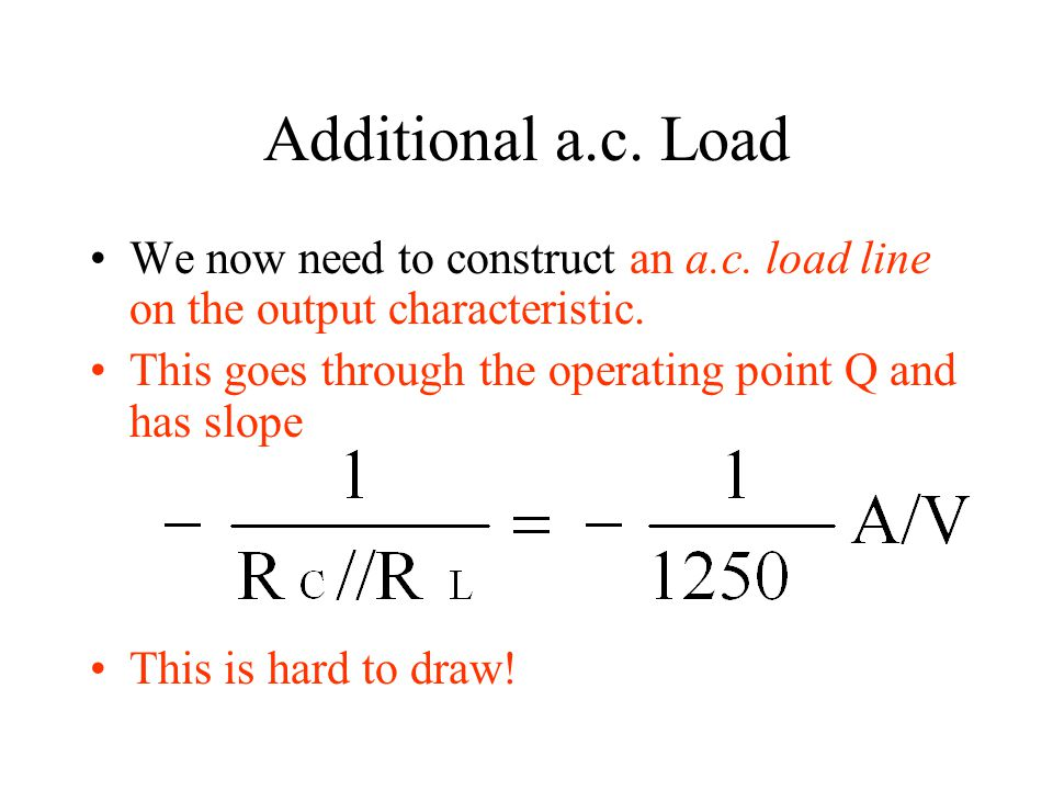 Additional a.c. Load We now need to construct an a.c. load line on the output characteristic. This goes through the operating point Q and has slope Th
