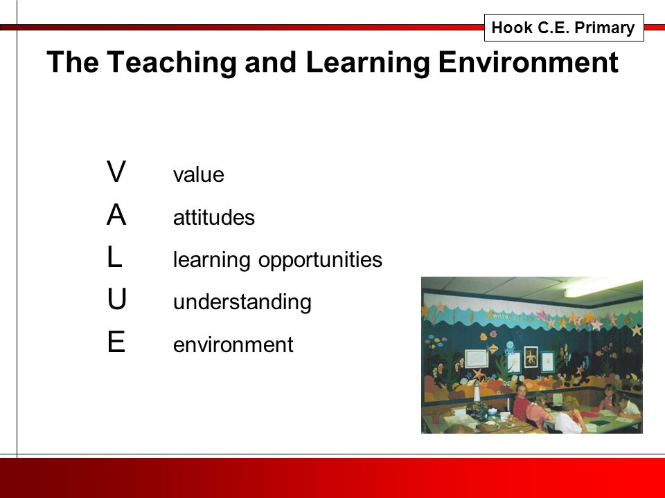 The Teaching and Learning Environment V value A attitudes L learning opportunities U understanding E environment Hook C.E.