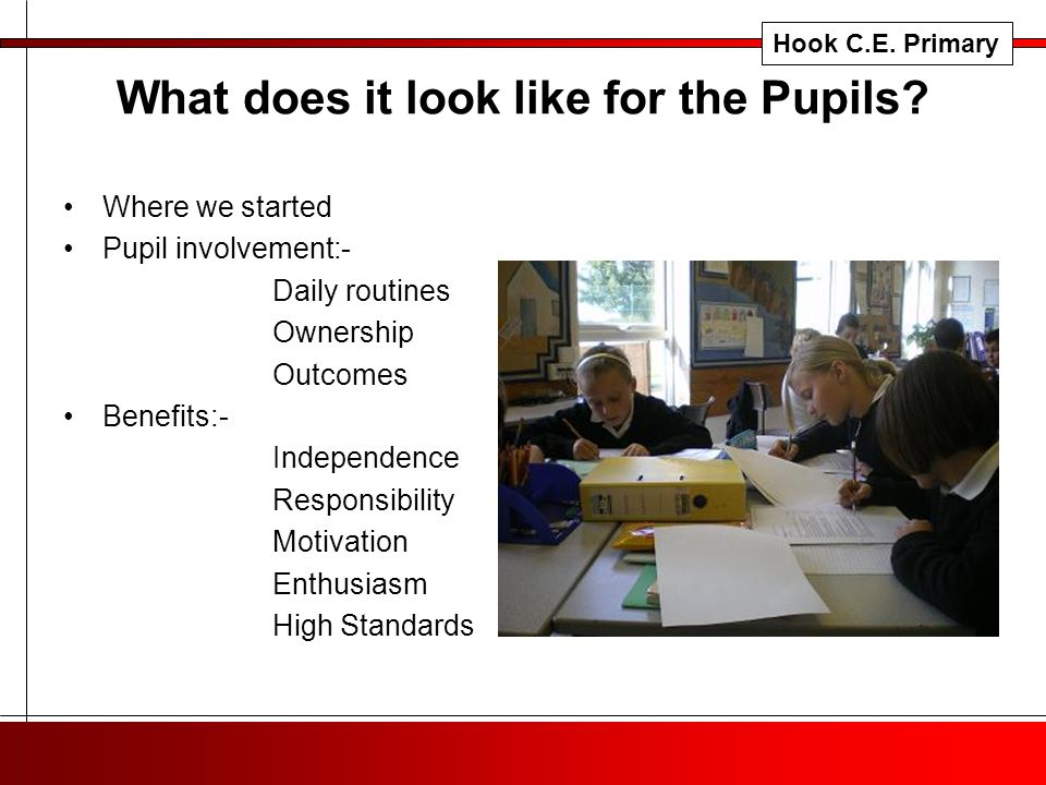 What does it look like for the Pupils.