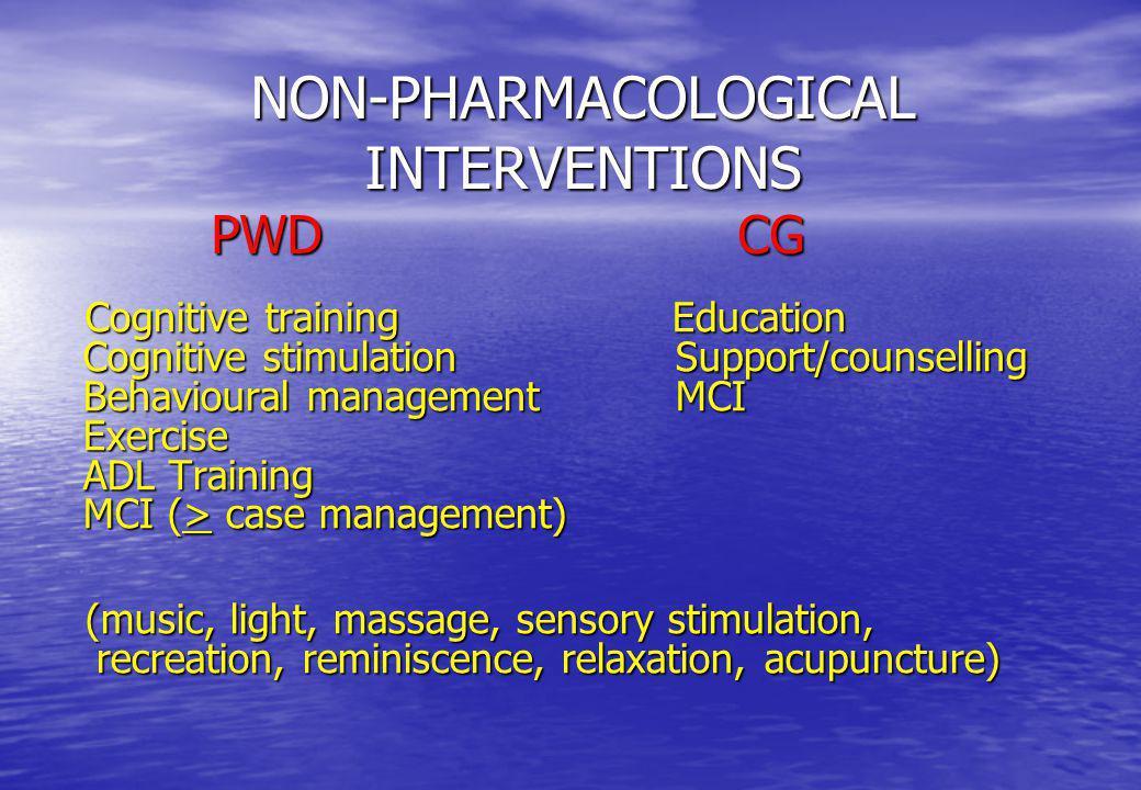 Cognitive training Education Cognitive stimulation Support/counselling Behavioural management MCI Exercise ADL Training MCI (> case management) Cognit