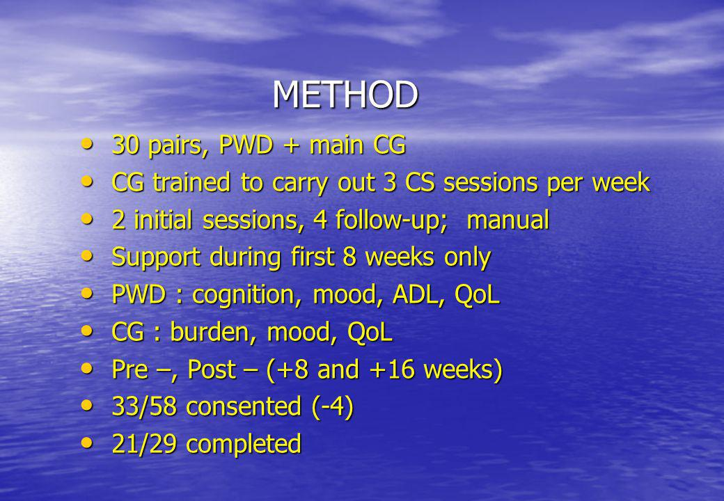 METHOD 30 pairs, PWD + main CG 30 pairs, PWD + main CG CG trained to carry out 3 CS sessions per week CG trained to carry out 3 CS sessions per week 2