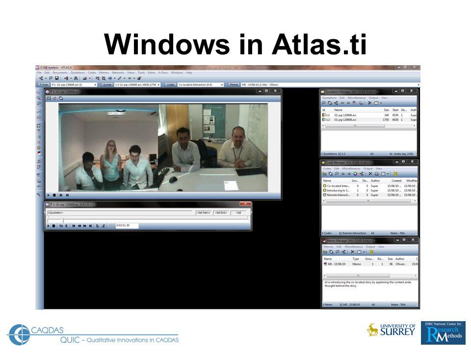 Windows in Atlas.ti