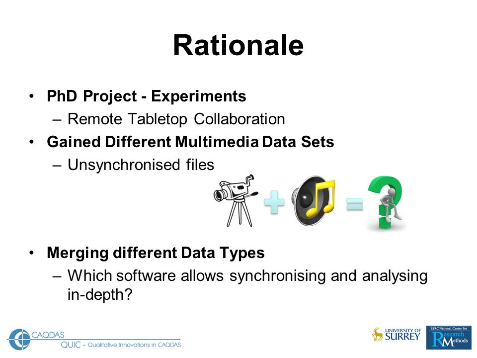 Rationale PhD Project - Experiments –Remote Tabletop Collaboration Gained Different Multimedia Data Sets –Unsynchronised files Merging different Data Types –Which software allows synchronising and analysing in-depth