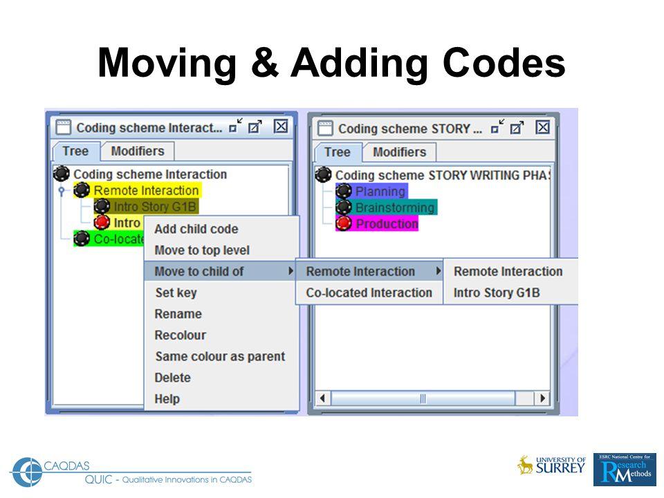 Moving & Adding Codes