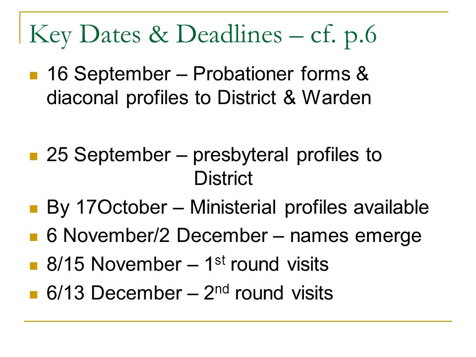 Key Dates & Deadlines – cf.