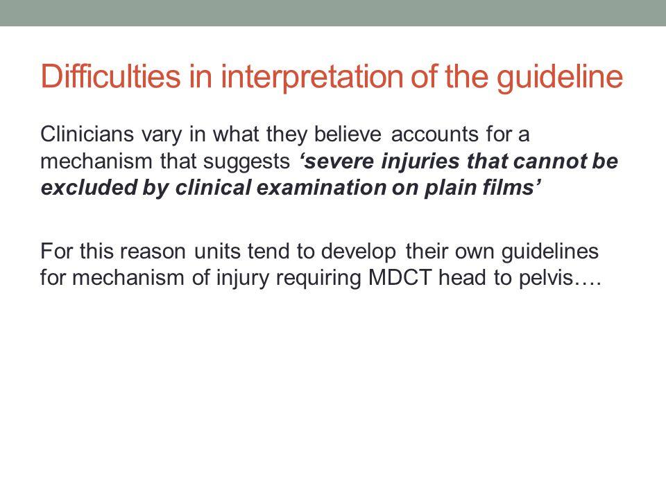 Mechanism of injury warranting head to pelvis scan at HEFT