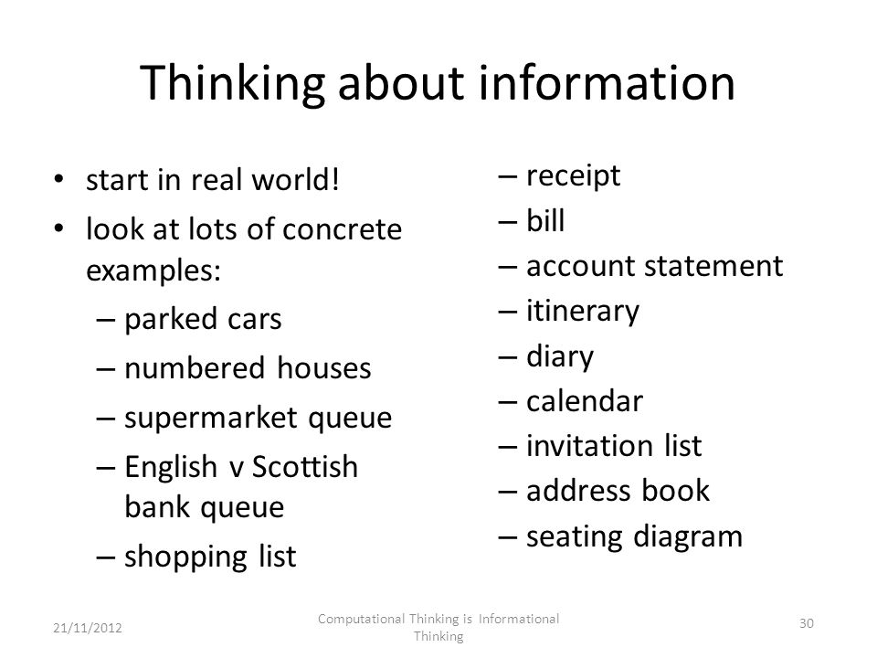 Thinking about information start in real world.