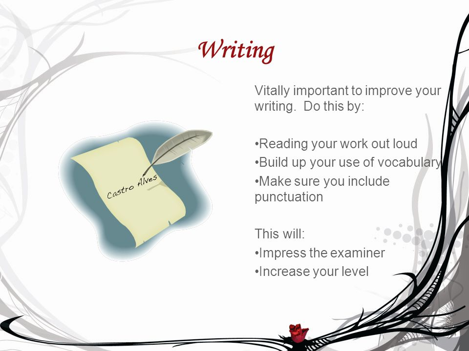 Writing Vitally important to improve your writing.