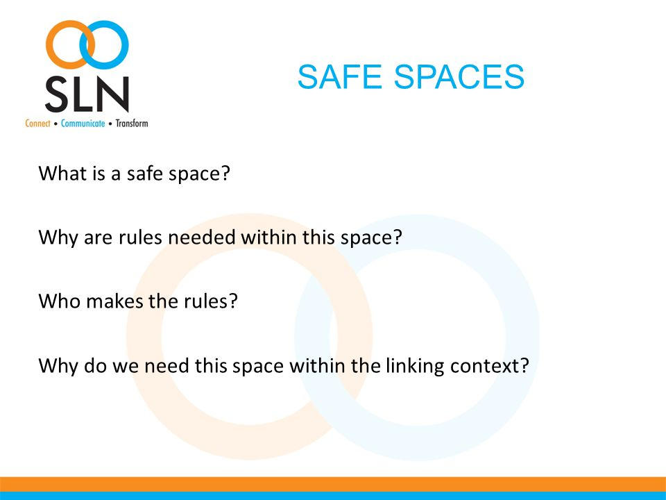 SAFE SPACES What is a safe space. Why are rules needed within this space.