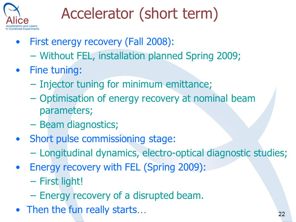 22 Accelerator (short term) First energy recovery (Fall 2008): –Without FEL, installation planned Spring 2009; Fine tuning: –Injector tuning for minimum emittance; –Optimisation of energy recovery at nominal beam parameters; –Beam diagnostics; Short pulse commissioning stage: –Longitudinal dynamics, electro-optical diagnostic studies; Energy recovery with FEL (Spring 2009): –First light.