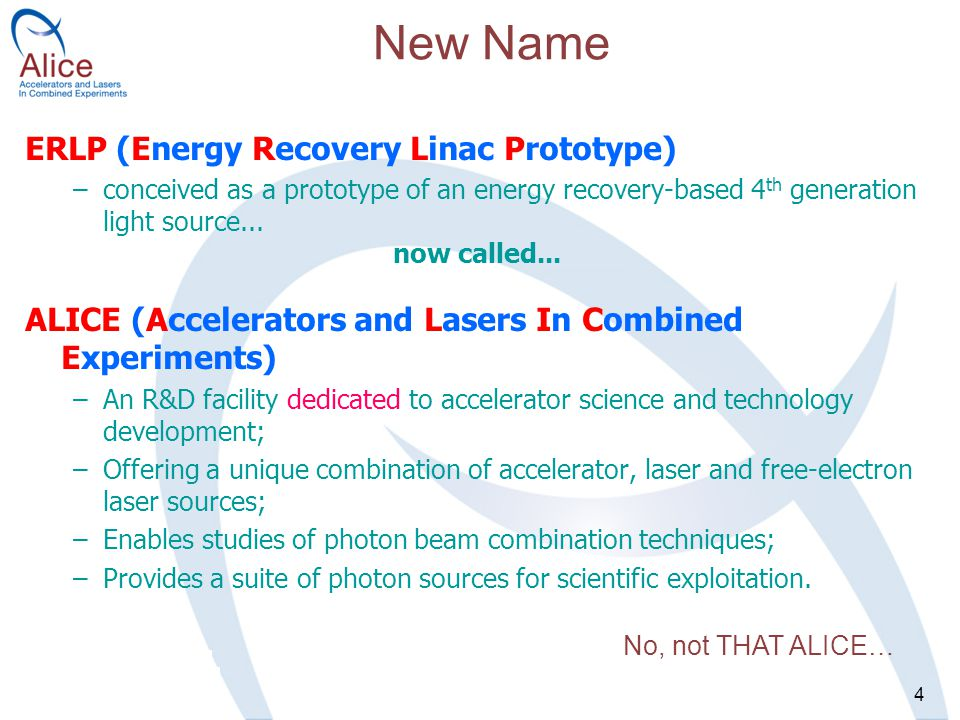 4 ERLP (Energy Recovery Linac Prototype) –conceived as a prototype of an energy recovery-based 4 th generation light source...