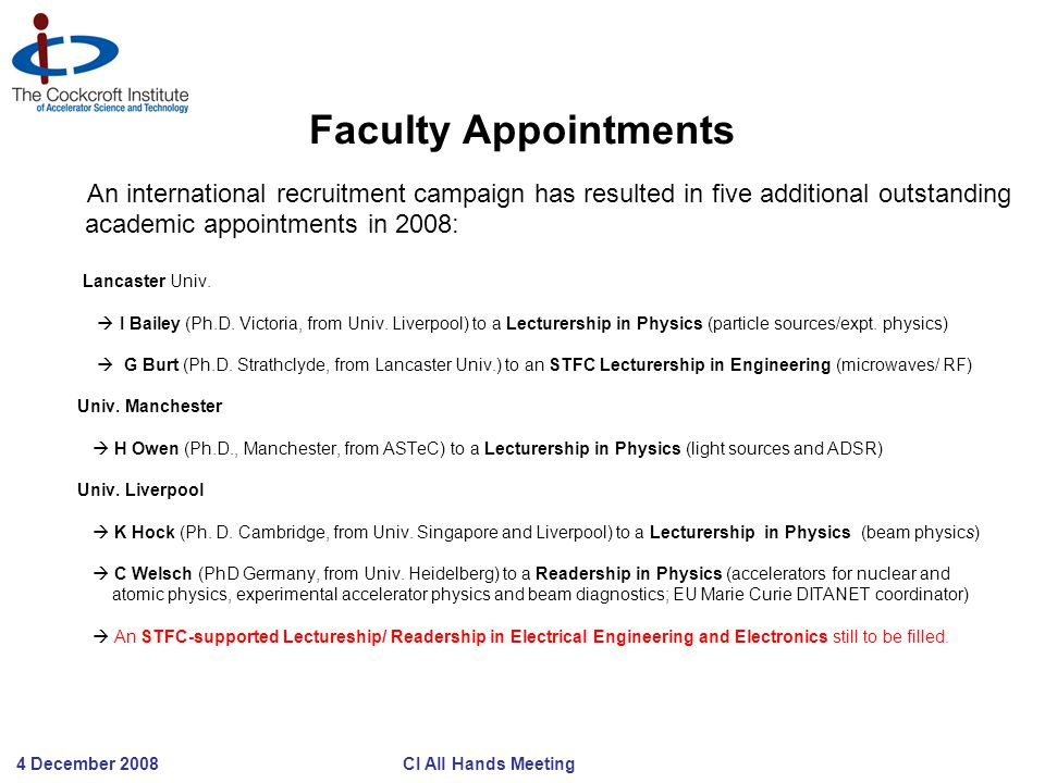 4 December 2008 CI All Hands Meeting Faculty Appointments An international recruitment campaign has resulted in five additional outstanding academic appointments in 2008: Lancaster Univ.