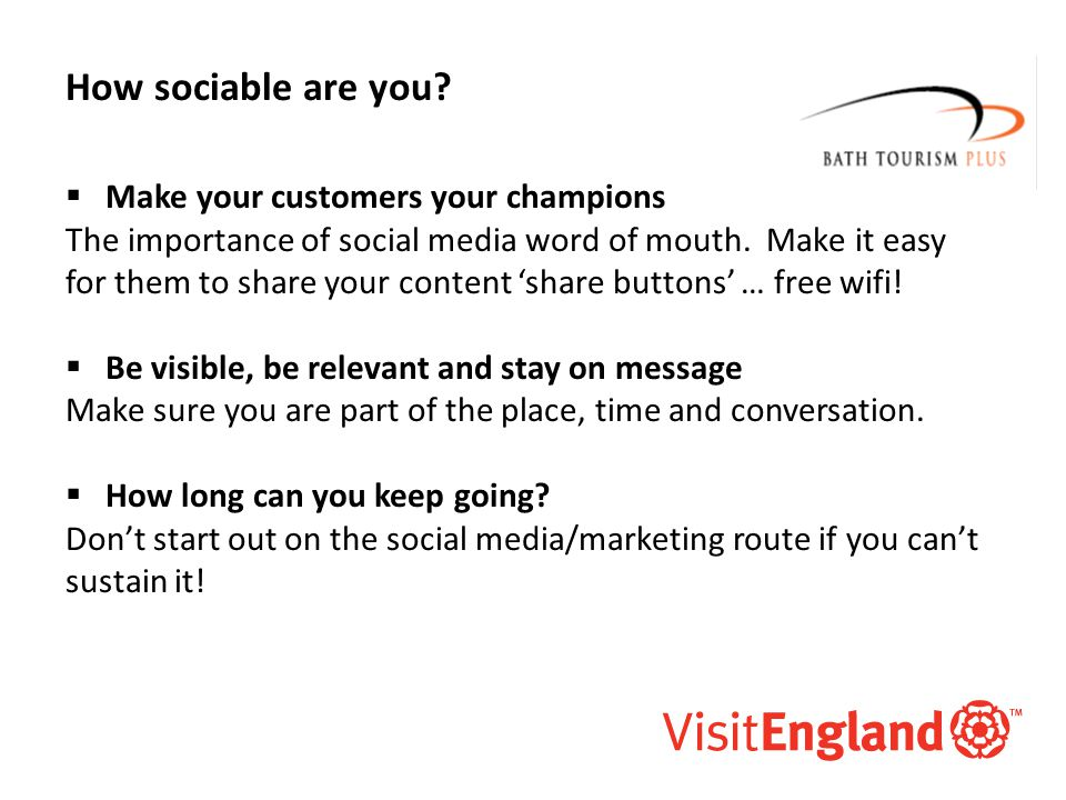 McAllister and Co How sociable are you?  Make your customers your champions The importance of social media word of mouth. Make it easy for them to sh