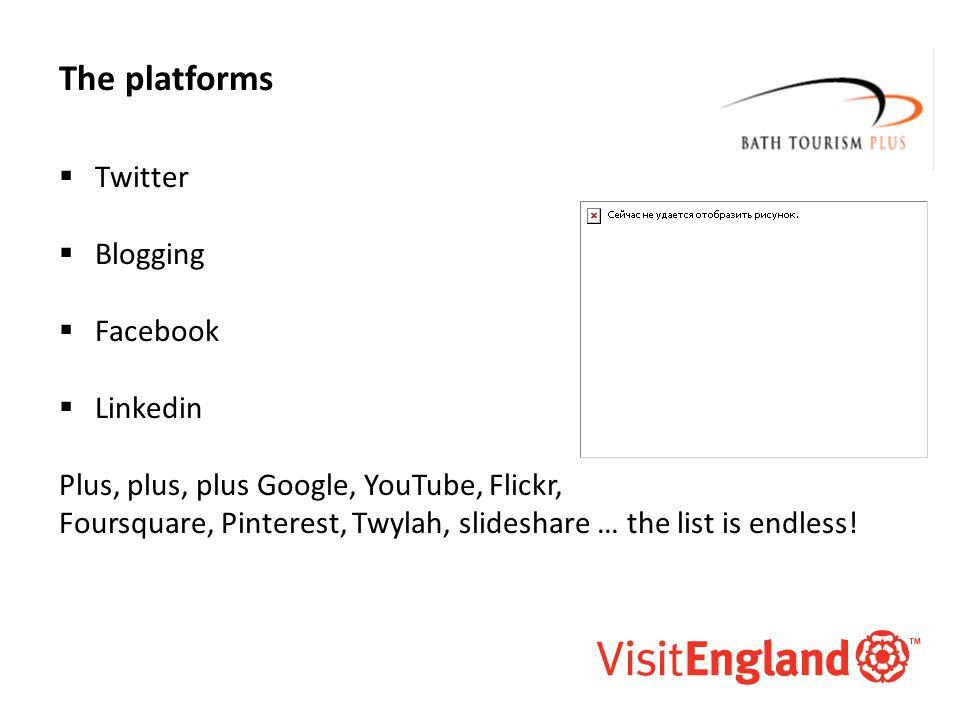 McAllister and Co The platforms  Twitter  Blogging  Facebook  Linkedin Plus, plus, plus Google, YouTube, Flickr, Foursquare, Pinterest, Twylah, sl