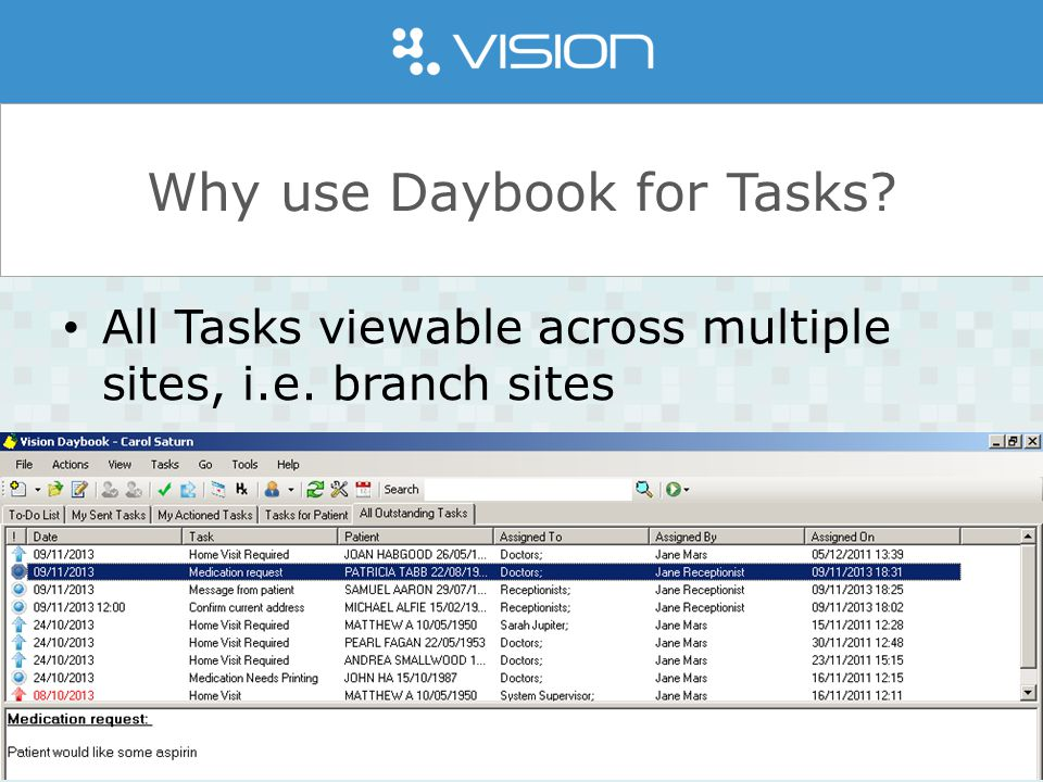 www.inps.co.uk Why use Daybook for Tasks. All Tasks viewable across multiple sites, i.e.