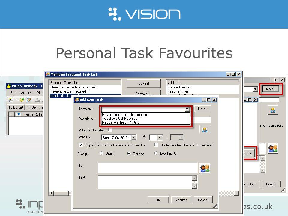 www.inps.co.uk Personal Task Favourites