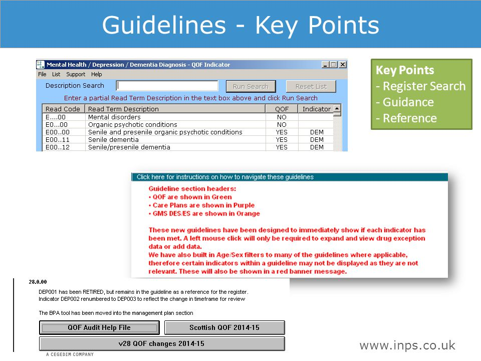 www.inps.co.uk Guidelines - Key Points Key Points - Register Search - Guidance - Reference