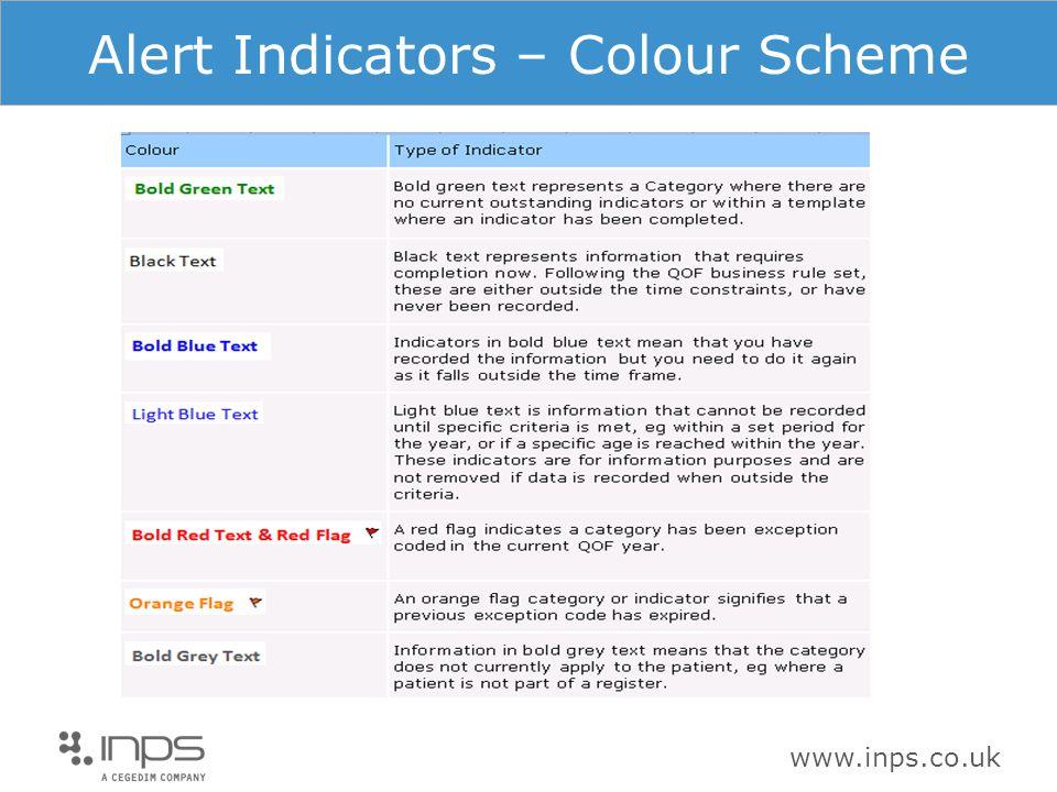 www.inps.co.uk Alert Indicators – Colour Scheme