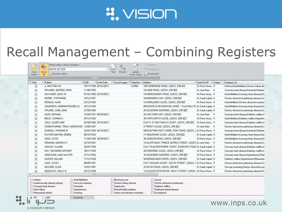 www.inps.co.uk Recall Management – Combining Registers