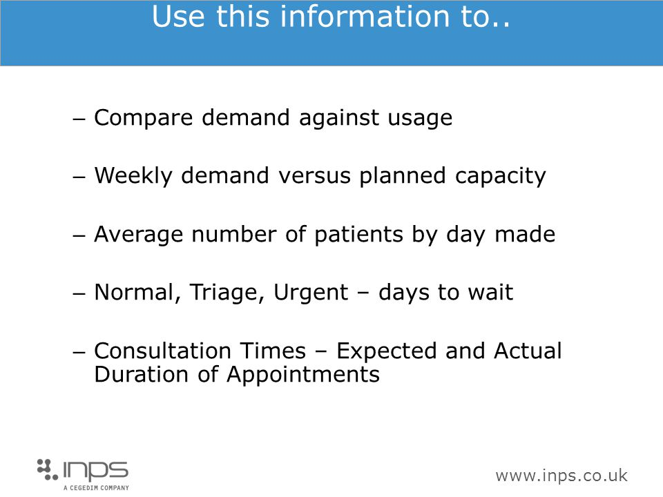 www.inps.co.uk Use this information to.. – Compare demand against usage – Weekly demand versus planned capacity – Average number of patients by day ma
