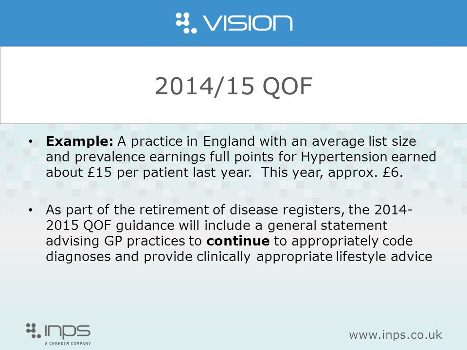 www.inps.co.uk 2014/15 QOF Example: A practice in England with an average list size and prevalence earnings full points for Hypertension earned about