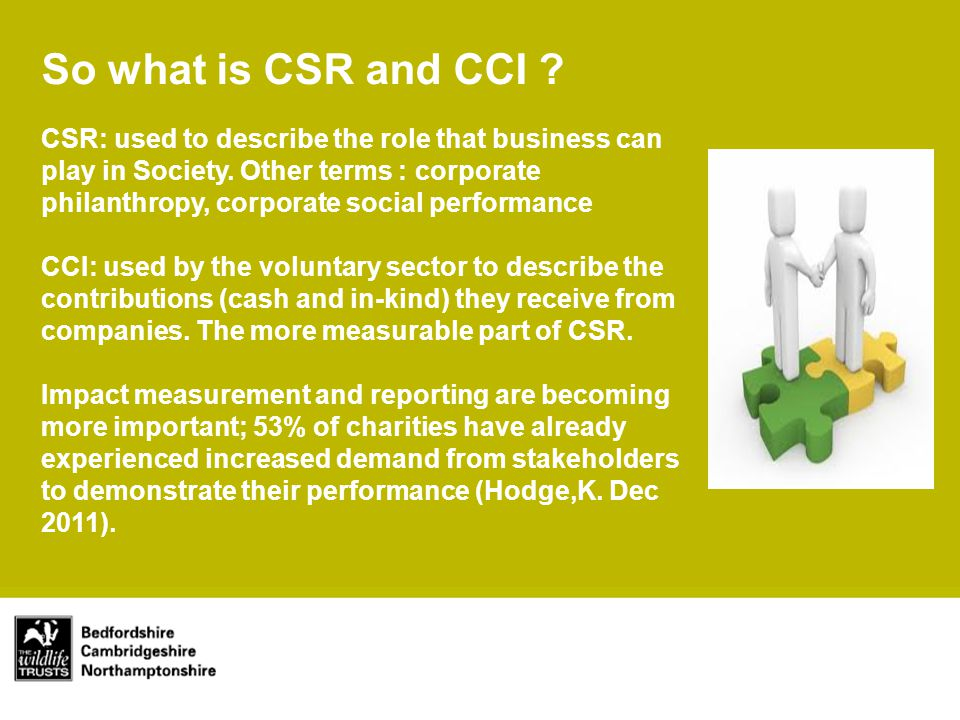 Main title Subtitle So what is CSR and CCI .