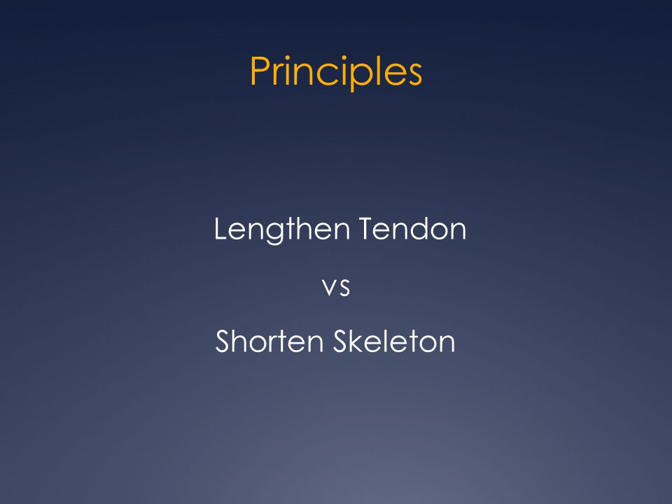 Principles Lengthen Tendon vs Shorten Skeleton