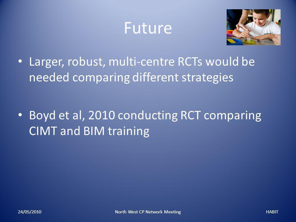 Future Larger, robust, multi-centre RCTs would be needed comparing different strategies Boyd et al, 2010 conducting RCT comparing CIMT and BIM training 24/05/2010North West CP Network MeetingHABIT