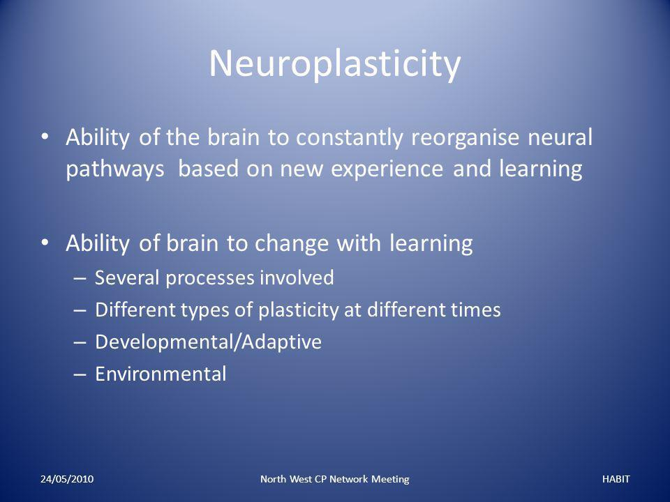 Neuroplasticity Ability of the brain to constantly reorganise neural pathways based on new experience and learning Ability of brain to change with learning – Several processes involved – Different types of plasticity at different times – Developmental/Adaptive – Environmental 24/05/2010North West CP Network MeetingHABIT