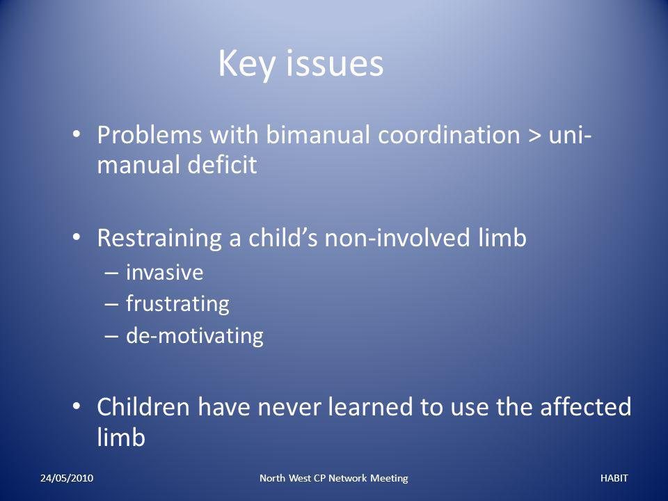 24/05/2010North West CP Network MeetingHABIT Key issues Problems with bimanual coordination > uni- manual deficit Restraining a child's non-involved limb – invasive – frustrating – de-motivating Children have never learned to use the affected limb