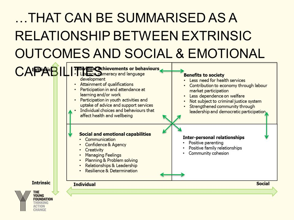 …THAT CAN BE SUMMARISED AS A RELATIONSHIP BETWEEN EXTRINSIC OUTCOMES AND SOCIAL & EMOTIONAL CAPABILITIES