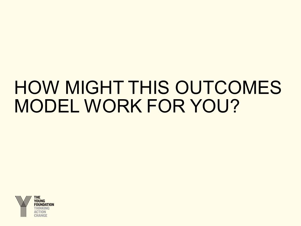 HOW MIGHT THIS OUTCOMES MODEL WORK FOR YOU