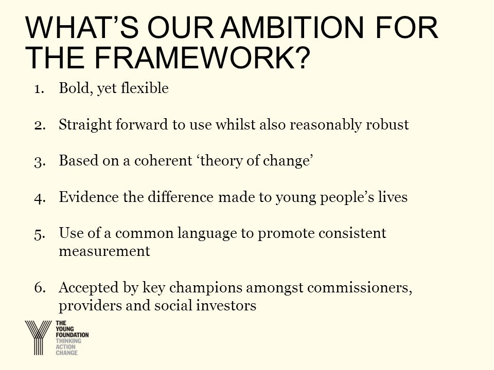 WHAT'S OUR AMBITION FOR THE FRAMEWORK.