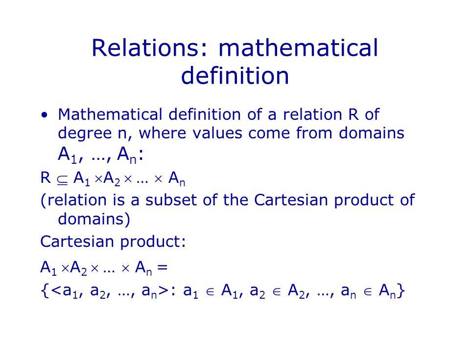 Relational model: data manipulation Data is represented as relations.