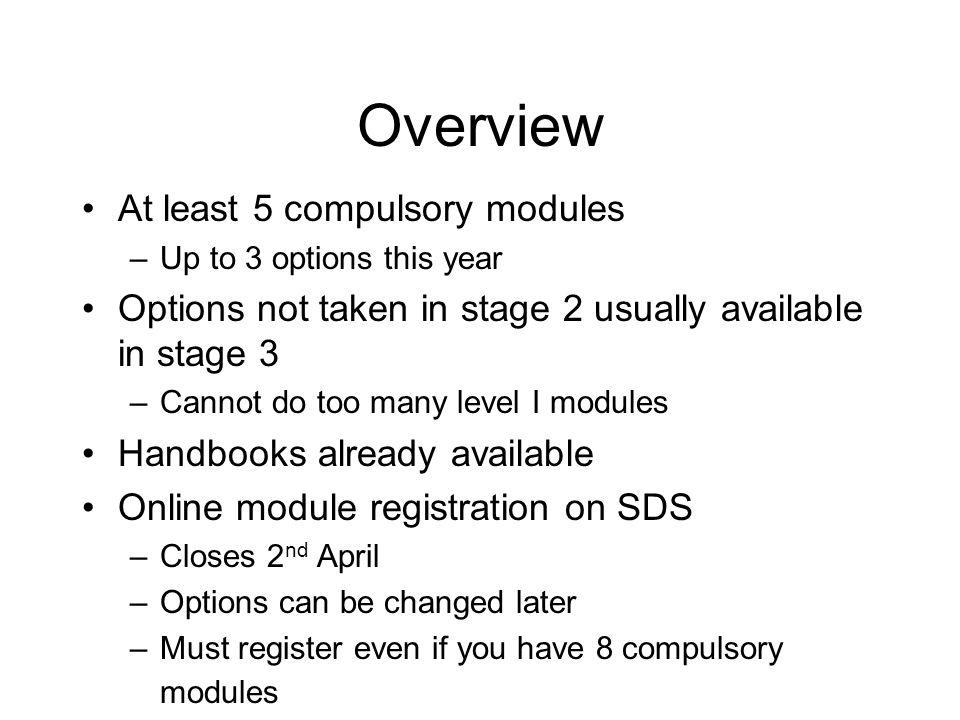 Which modules do I take.