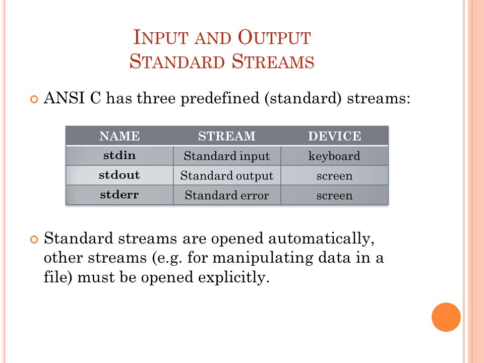 I NPUT AND O UTPUT S TANDARD S TREAMS ANSI C has three predefined (standard) streams: Standard streams are opened automatically, other streams (e.g. f