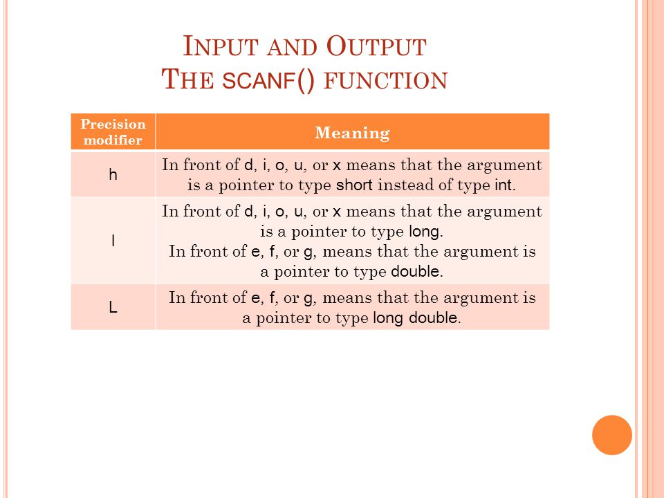 I NPUT AND O UTPUT T HE SCANF () FUNCTION The precision modifiers Precision modifier Meaning h In front of d, i, o, u, or x means that the argument is a pointer to type short instead of type int.