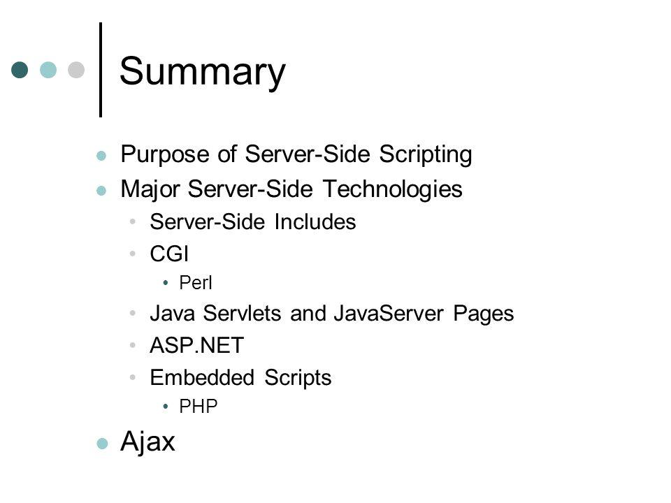 Summary Purpose of Server-Side Scripting Major Server-Side Technologies Server-Side Includes CGI Perl Java Servlets and JavaServer Pages ASP.NET Embedded Scripts PHP Ajax