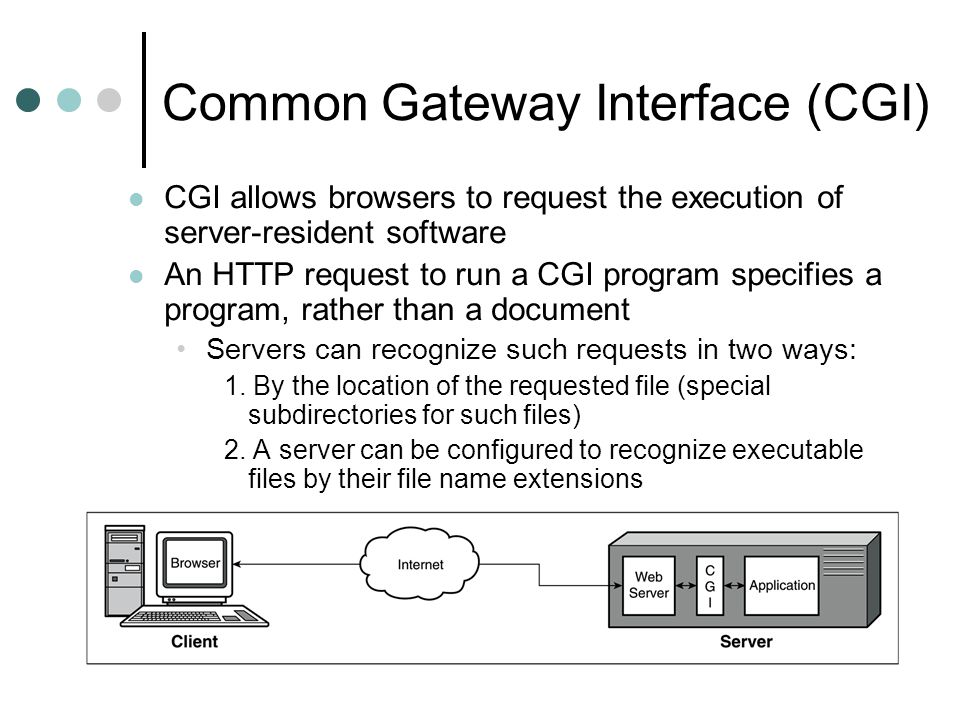 Common Gateway Interface (CGI) CGI allows browsers to request the execution of server-resident software An HTTP request to run a CGI program specifies