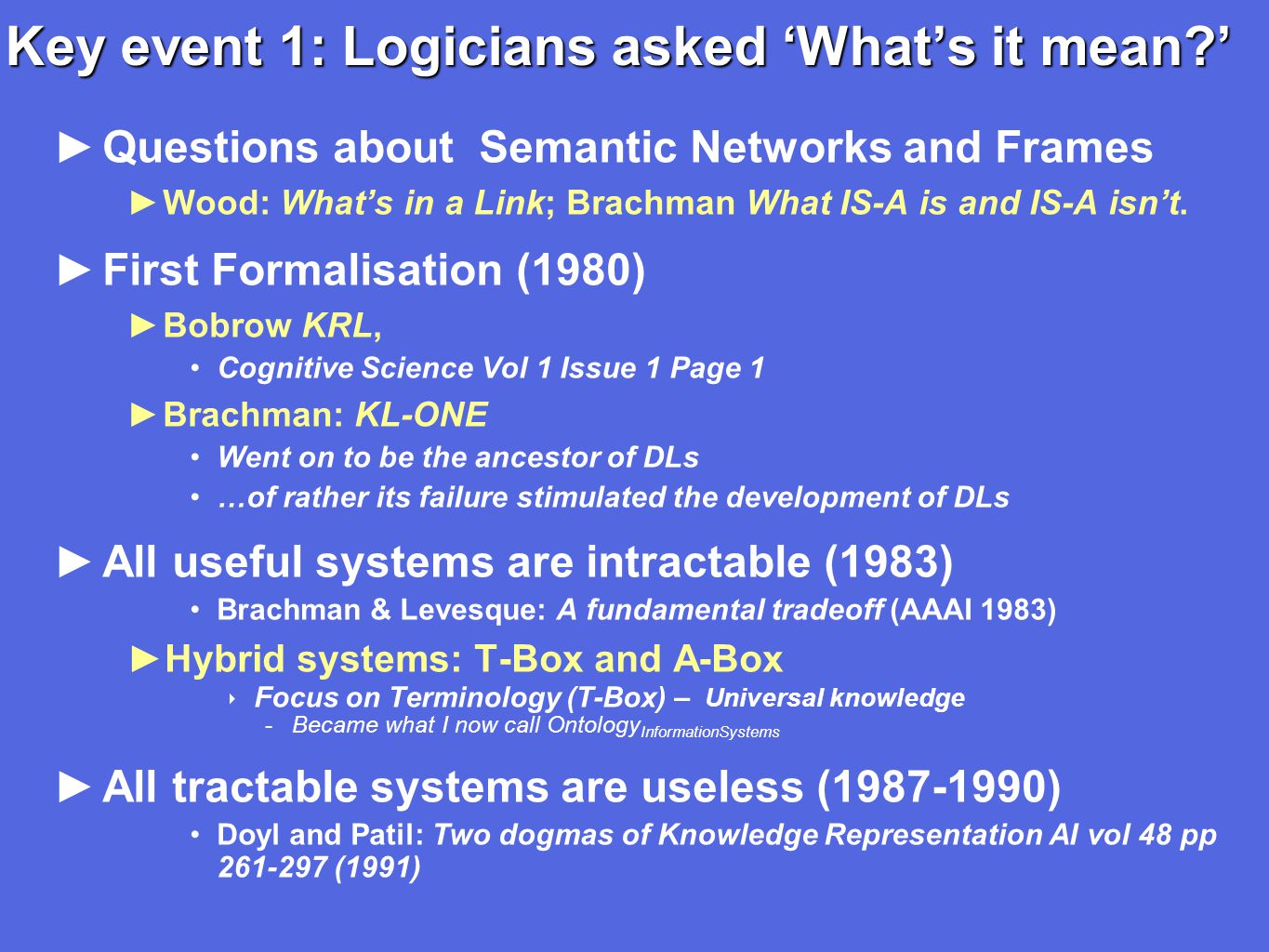 Key event 1: Logicians asked 'What's it mean ' ►Questions about Semantic Networks and Frames ►Wood: What's in a Link; Brachman What IS-A is and IS-A isn't.