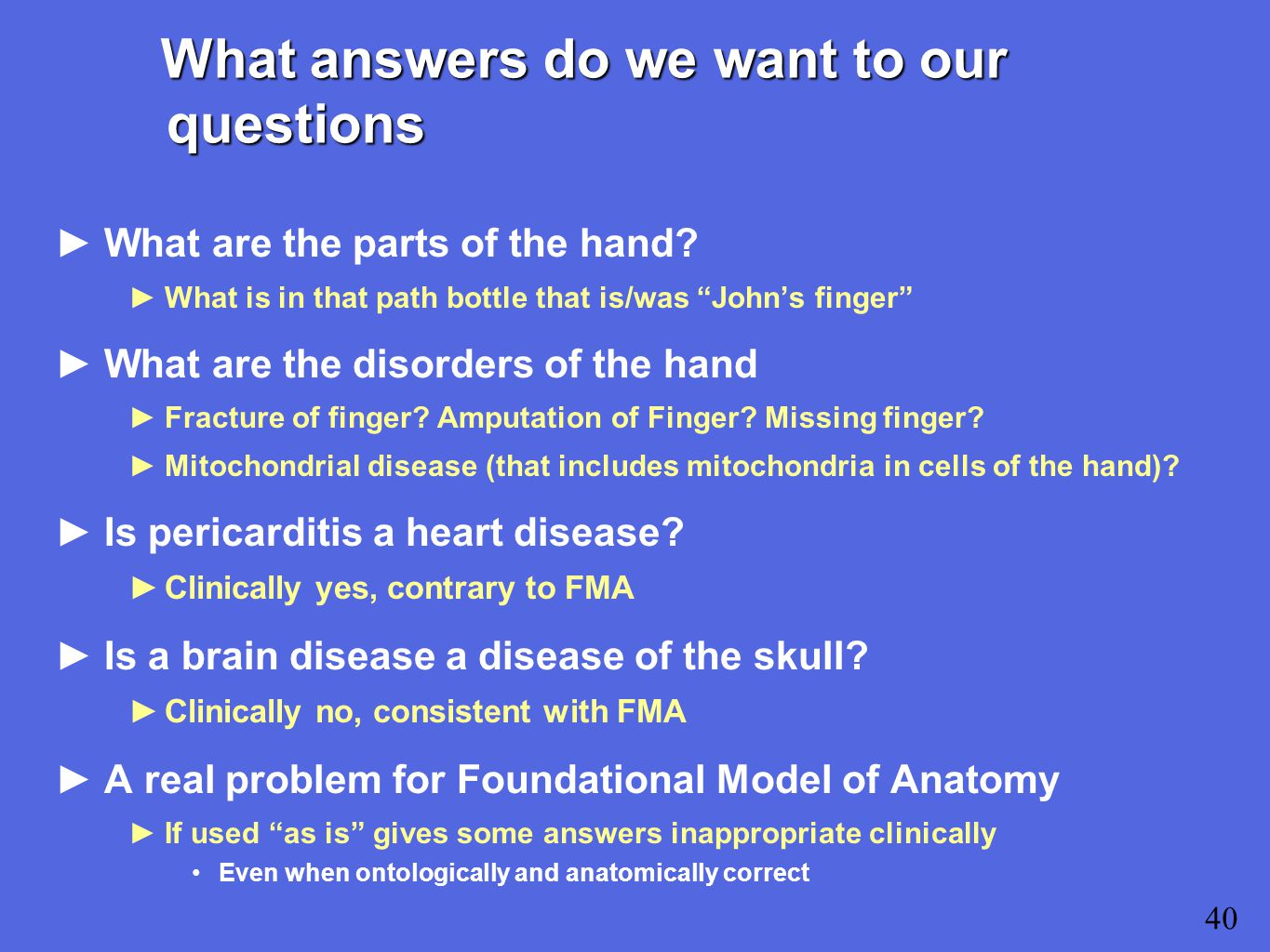What answers do we want to our questions ►What are the parts of the hand.